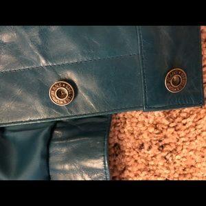 GAP Jackets & Coats - Vintage 90s teal leather jacket